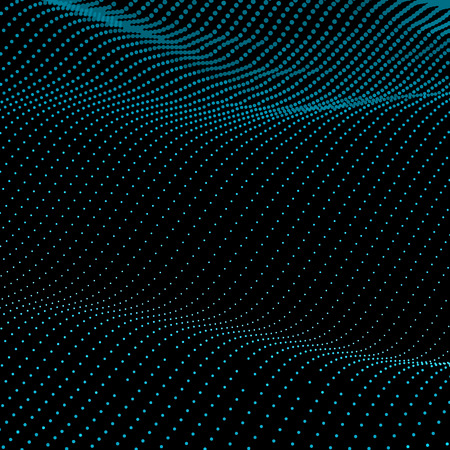 Abstract bokeh dots waves. Vector background. Green on black.