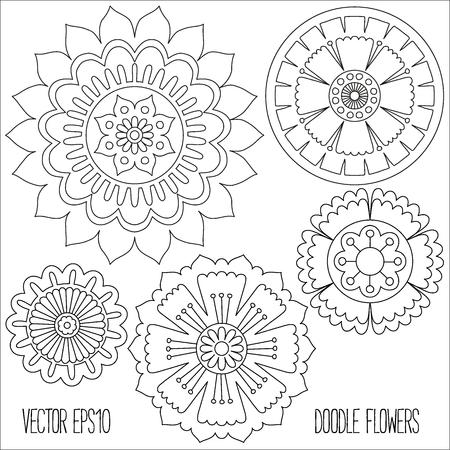 Doodle bloemen in te stellen. Hand getrokken geïsoleerde grafische elementen. Boho en etnische stijl mandala. Decoratieve kunst voor verjaardagskaarten, huwelijk en baby shower uitnodigingen, scrapbooking etc. Vector illustratie.