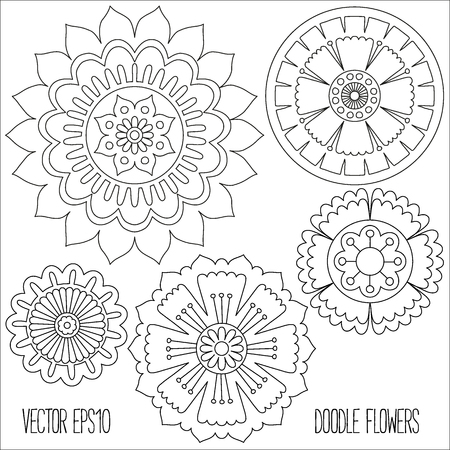 Doodle flowers set. Hand drawn isolated graphic elements. Boho and ethnic style mandala. Decorative art for birthday cards, wedding and baby shower invitations, scrapbooking etc. Vector illustration.