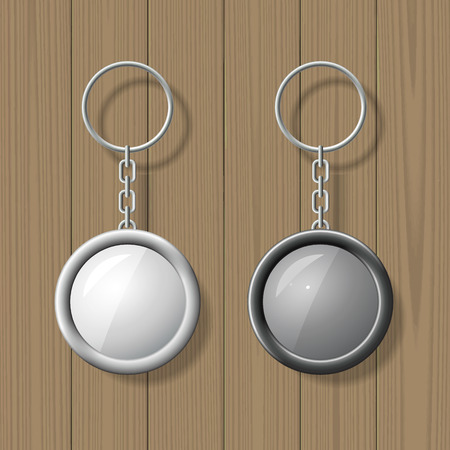 key: Two key chain pendants on wooden background. Blank template. Business identity mock up. Vector illustration.