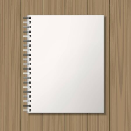 binding: Notepad with spiral binding on wooden background. Blank template. Business identity mock up. Vector illustration. Illustration