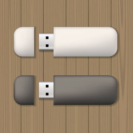 memory drive: Two usb memory sticks on wooden background. Blank template. Business identity mock up. Vector illustration.