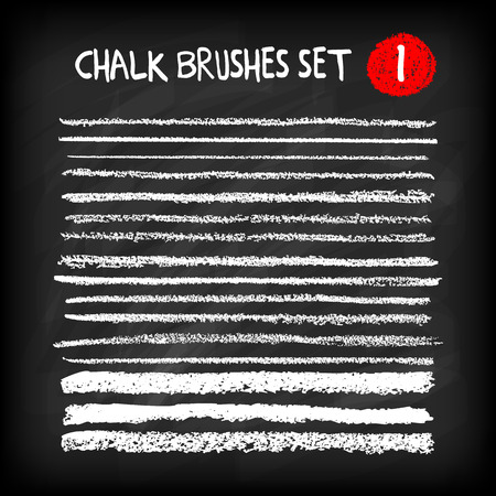 Set of chalk brushes. Handmade design elements on chalkboard background. Grunge vector illustration. Vettoriali