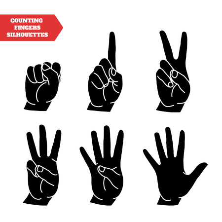 fingers: Counting hands showing different number of fingers. Graphic design element for teaching math to young children as school printout. Great for showing numbers on your design in a fun and creative way.