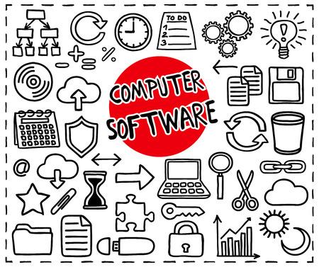 Computer Software set. Freehand doodle icons. Graphic elements - app icons such as copy, paste, cut, etc, cloud computing, diagram, puzzle piece, laptop, light bulb idea and more. Vector illustration