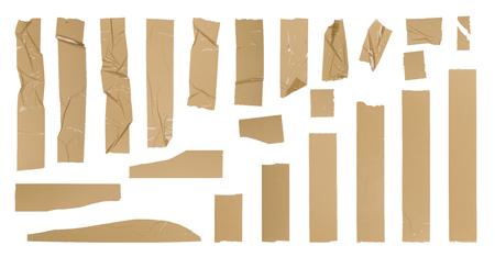 茶色の粘着テープのセット、白で隔離