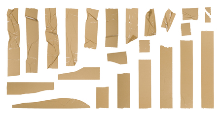 Brown adhesive tape set, isolated on white Stock Photo