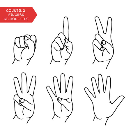 hand pointing: Counting hands showing different number of fingers. Graphic design element for teaching math to young children as school printout. Great for showing numbers on your design in a fun and creative way.