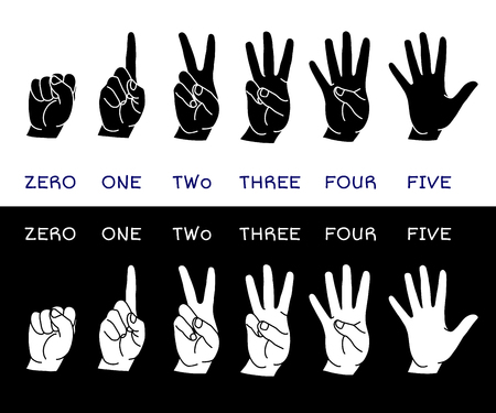 man pointing up: Counting hands showing different number of fingers. Graphic design element for teaching math to young children as school printout. Great for showing numbers on your design in a fun and creative way.