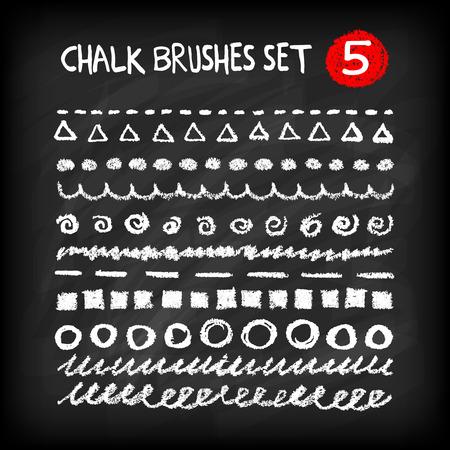 Set of chalk brushes. Handmade design elements on chalkboard background. Grunge vector illustration. Ilustração