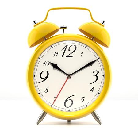 그림자와 흰색 배경에 알람 시계입니다. 빈티지 스타일 노란색 손으로 검은 색 시계.