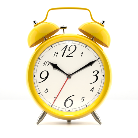 Alarm clock on white background with shadow. Vintage style yellow color clock with black hands.