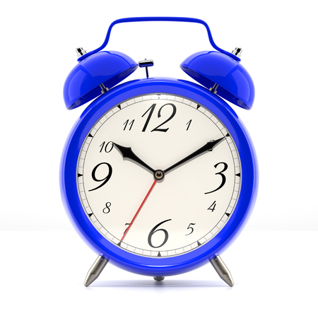wall clock: Alarm clock on white background with shadow. Vintage style blue color clock with black hands.