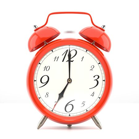 wall clock: Alarm clock on white background with shadow. Vintage style red color clock with black hands.