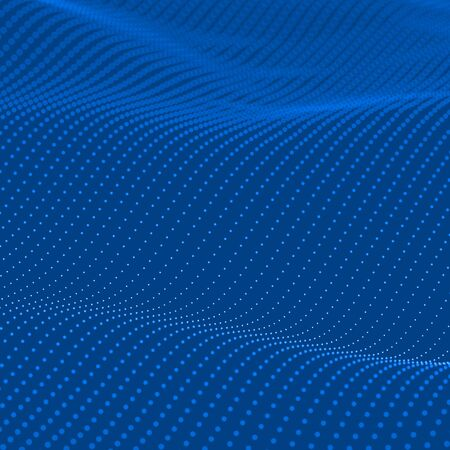 abstract waves: Abstract bokeh dots waves. Blue background.. Stock Photo
