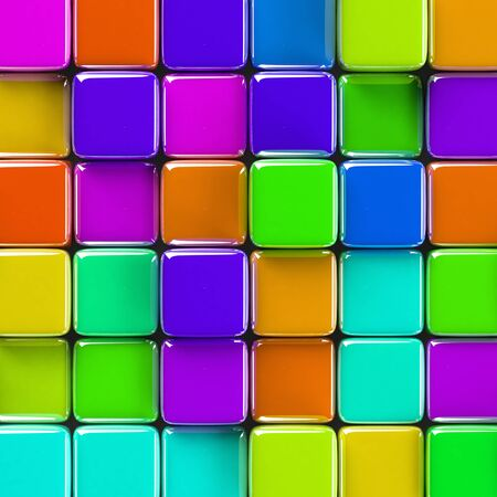 abstract cubes: Abstract geometric background with brightly colored glass cubes of various height.
