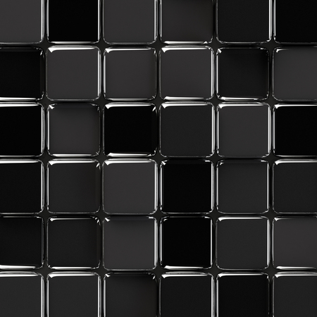 Abstract geometric background with glossy black glass cubes of various height.