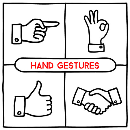 Doodle gestures icons set. Thumbs up, shake hands, ok sign, pointing finger. Hand drawn infographic symbols. Line art style graphic design elements. Illustration