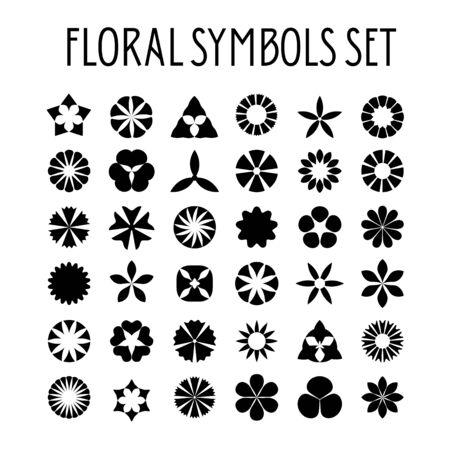 web site background: Flower symbols set. Decorative floral icons. Design element for wedding invitation, Valentines Day cards, wallpapers, web site background, baby shower invitation, birthday card, scrapbooking, etc.