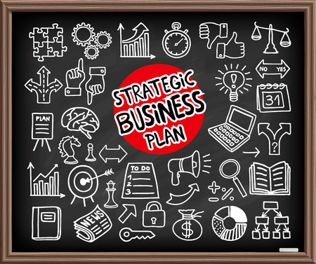 handdrawn: Doodle Business Plan icons set. Chalk board effect drawing. Freehand drawn graphic elements. Vector Illustration.