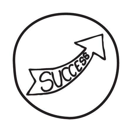 Doodle Arrow icon with the word Success. Infographic symbol in a circle. Line art style graphic design element. Web button. Business growth, progress concept.