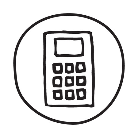 exact: Doodle Calculator icon. Infographic symbol in a circle. Line art style graphic design element. Web button.  Calculating, exact numbers, finance, math concept.