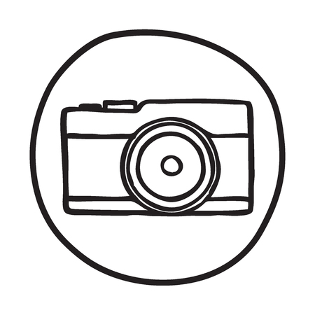 photography background: Doodle Camera icon. BInfographic symbol in a circle. Line art style graphic design element. Web button. Photography, taking pictures concept.