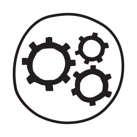 gear wheel: Doodle Gears icon. Infographic symbol in a circle. Line art style graphic design element. Web button.  Working smoothly, teamwork, industry, motion concept.