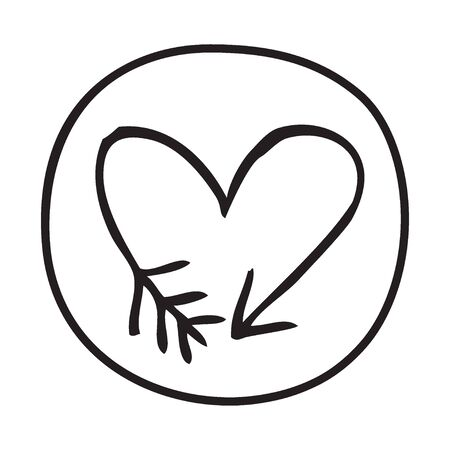 educative: Doodle Arrow Heart icon. Infographic symbol in a circle. Line art style graphic design element. Web button. Love, wedding, feelings, cupid concept.