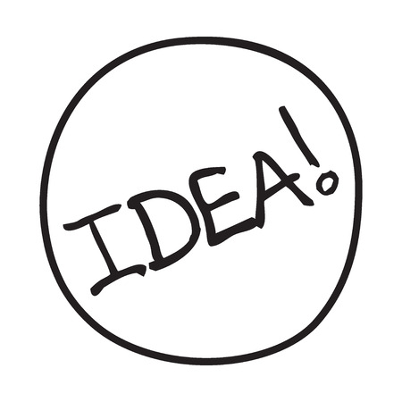 coming up with: Doodle Idea icon. Infographic symbol in a circle. Line art style graphic design element. Web button.  Coming up with an idea, invention concept.