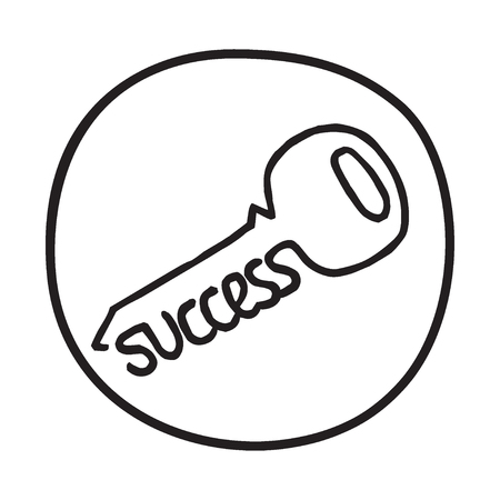 Doodle Key to Success icon. Infographic symbol in a circle. Line art style graphic design element. Web button.  Discovering secret of business success concept.