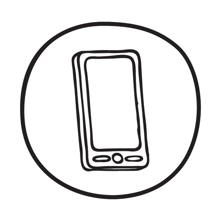 Doodle Mobile Phone Icon Binfographic Symbol In A Circle Line