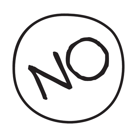 educative: Doodle NO word icon. Infographic symbol in a circle. Line art style graphic design element. Web button. Forbidden, disagreement, political protest concept.