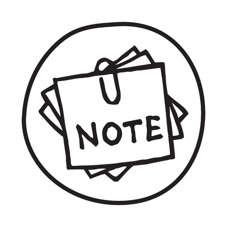 taking notes: Doodle Note icon. Infographic symbol in a circle. Line art style graphic design element. Web button. Office supplies, taking notes concept. Illustration
