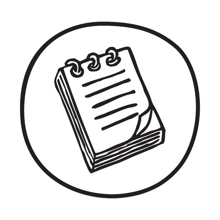 taking notes: Doodle Notepad icon. Infographic symbol in a circle. Line art style graphic design element. Web button. Office supplies, taking notes concept.
