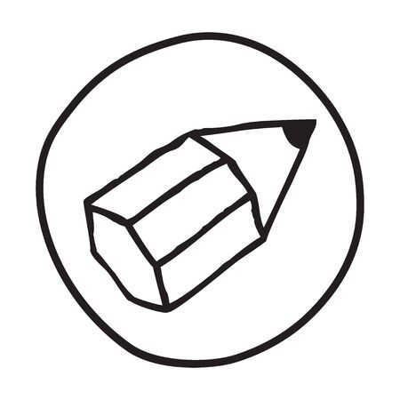 office supply: Doodle Pencil icon. Infographic symbol in a circle. Line art style graphic design element. Web button. Writing, office supply, signing  concept.