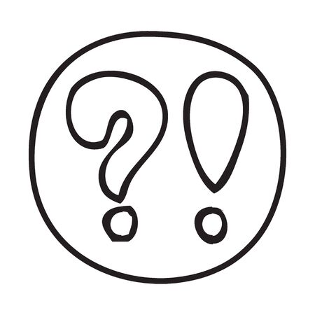 educative: Doodle Question and Exclamation Mark icon. Infographic symbol in a circle. Line art style graphic design element. Web button. Web button with shadow. Customer service concept.