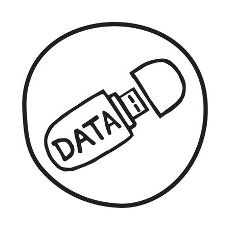 memory stick: Doodle USB memory stick icon. Infographic symbol in a circle. Line art style graphic design element. Web button. Saving files, data security, portable concept.