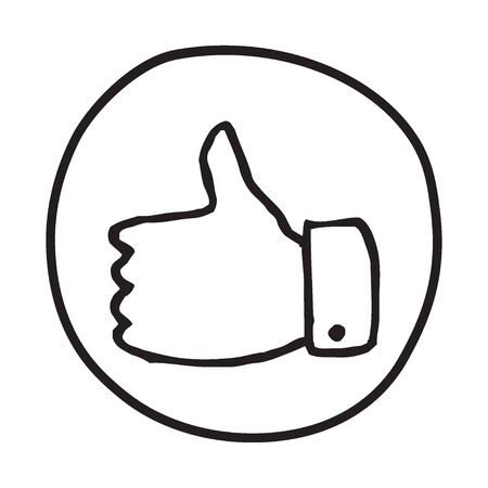 approval button: Doodle Thumbs Up icon. Infographic symbol in a circle. Line art style graphic design element. Web button.  Approval, vote, love, favorite gesture concept. Illustration