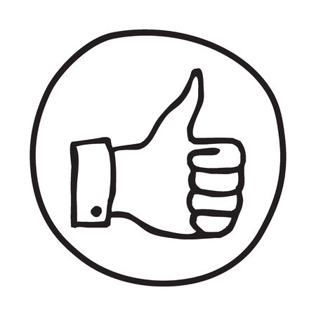 educative: Doodle Thumbs Up icon. Infographic symbol in a circle. Line art style graphic design element. Web button.  Approval, vote, love, favorite gesture concept. Illustration