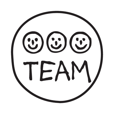 Doodle Team icon. Infographic symbol in a circle. Line art style graphic design element. Web button. Teamwork, human resources, happy co-workers, wotk together concept