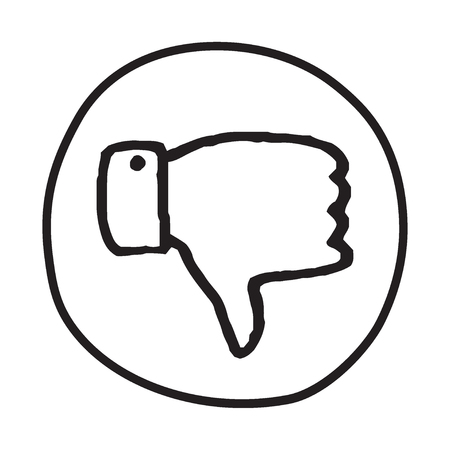 disapproval: Doodle Thumbs Down icon. Infographic symbol in a circle. Line art style graphic design element. Web button. Disapproval, dislike, vote down gesture concept