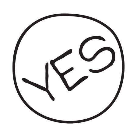 Doodle YES word icon. Infographic symbol in a circle. Line art style graphic design element. Web button. Agreement, support, saying yes, positive concept.