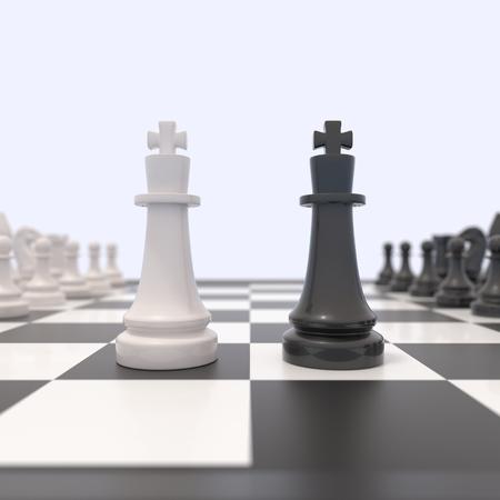 tablero de ajedrez: Dos piezas de ajedrez sobre un tablero de ajedrez. reyes en blanco y negro frente a la otra. La competencia, la discusión, acuerdo u oposición y el concepto de la confrontación. Foto de archivo