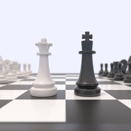 chessboard: Two chess pieces on a chessboard. Black king and white queen facing each other. Confrontation between men and women, feminism, competition, discussion, agreement concept. 3D illustration. Stock Photo