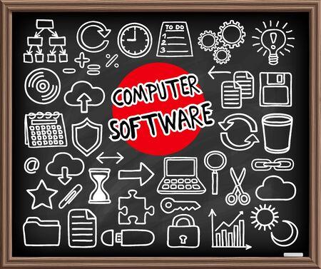 copy paste: Computer Software set. Freehand doodle icons. Graphic elements - app icons such as copy, paste, cut, etc, cloud computing, diagram, puzzle piece, laptop, light bulb idea and more. Vector illustration