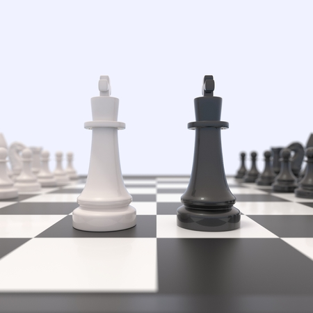 chessboard: Two chess pieces on a chessboard. Black and white kings facing each other. Competition, discussion, agreement or opposition and confrontation concept.