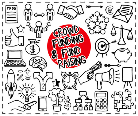 lending: Crowd funding and Fond Raising Doodle set. Start up, launching of new project concept. Graphic elements - thumb up, alarm clock, rocket, light bulb idea, handshake, puzzle pieces. Vector illustration Illustration