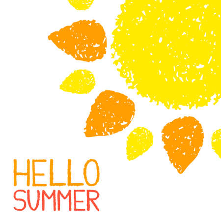 summer fun: Hello Summer poster. Hand painted with oil pastel crayons. Bright fun card, invitation template. Yellow and orange sun and red text. Abstract graphic design on white background. Vector illustration