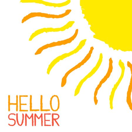 bright sun: Hello Summer poster. Hand painted with oil pastel crayons. Bright fun card, invitation template. Yellow and orange sun and red text. Abstract graphic design on white background. Vector illustration